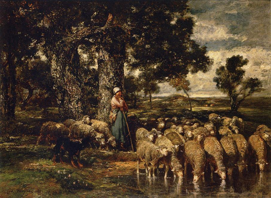 A Shepherdess with Her Flock, Oil On Canvas by Charles Émile Jacque (1813-1894, France)