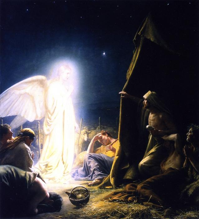 The Shepherds and the Angel, Painting by Carl Heinrich Bloch (1834-1890, Denmark)