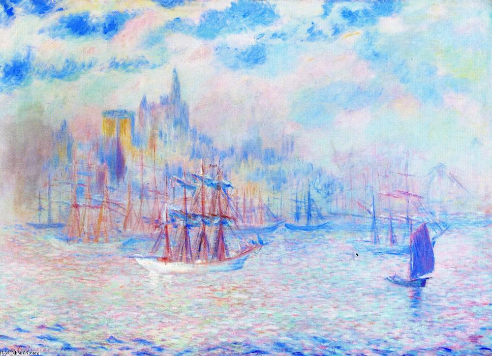 Buy Museum Art Reproductions | Ships in New York Harbor, 1907 by Theodore Earl Butler (1861-1936, United States) | ArtsDot.com