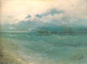 Ivan Aivazovsky - The ships on rough sea, sunrise