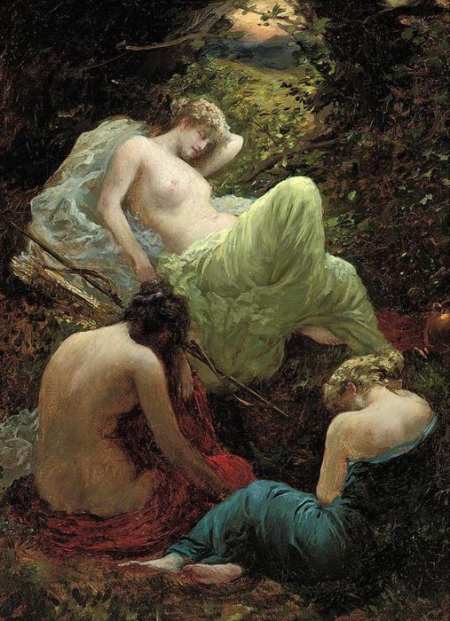 The Siesta of Diana, Oil On Canvas by Thomas Benjamin Kennington (1856-1916, United Kingdom)