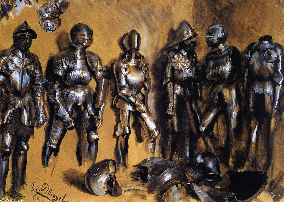 Six Suits of Armor Standing against a Wall, Frescoes by Adolph Menzel (1815-1905, Poland)