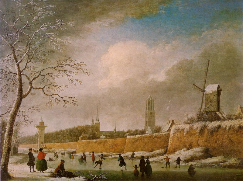 Skating view, Oil On Panel by Jan Ten Compe (1713-1761, Netherlands)