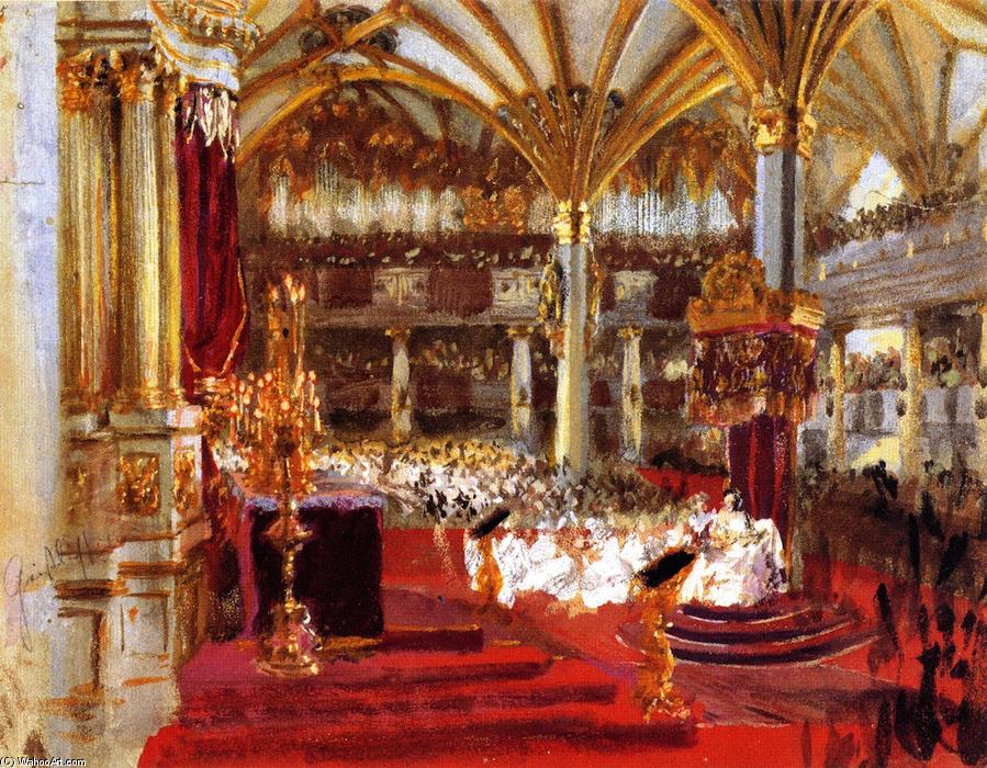 Sketch for The Coronation of King William I at Königsberg, Painting by Adolph Menzel (1815-1905, Poland)