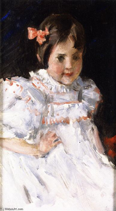 Sketch of a Child (also known as Portrait of Dorothy), Oil On Canvas by William Merritt Chase (1849-1916, United States)