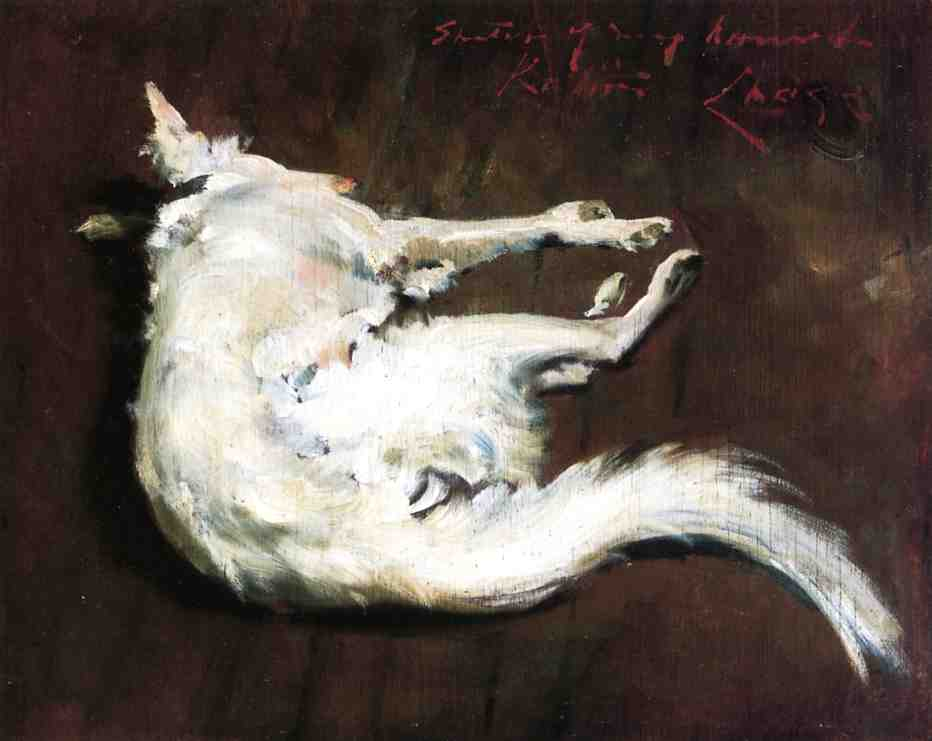A Sketch of My Hound Kuttie, Oil On Panel by William Merritt Chase (1849-1916, United States)