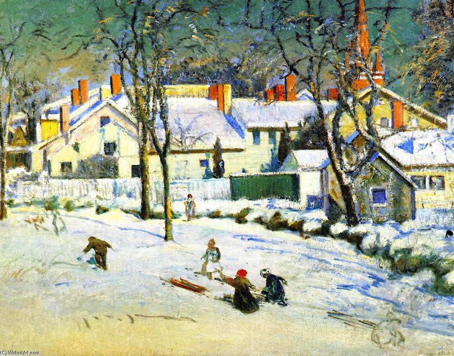 Sledding, Ipswich, Massachusetts, 1909 by Theodore Wendel (1859-1932) | Painting Copy | ArtsDot.com