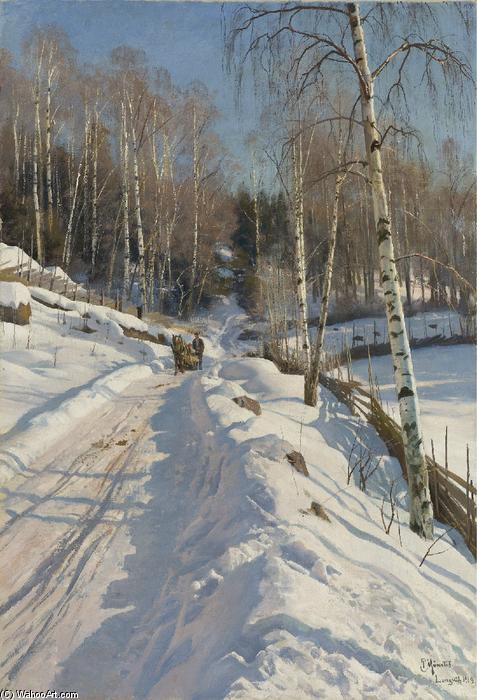 Sleigh ride on a Sunny Winter Day, Oil On Canvas by Peder Mork Monsted (1859-1941, Denmark)