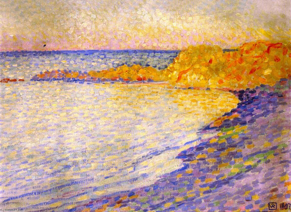 Small Beach at Saint-Tropez (also known as Petit plage à St-Tropez), Oil On Canvas by Theo Van Rysselberghe (1862-1926, Belgium)