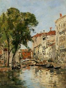 Eugène Louis Boudin - Small Canal in Venice