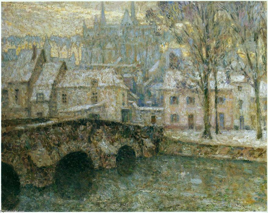 Snow at Chartres, Oil On Canvas by Henri Eugène Augustin Le Sidaner (1862-1939, Mauritius)