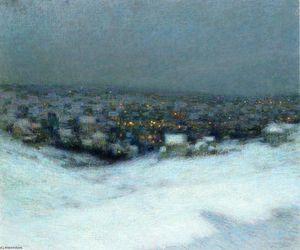 Henri Eugène Augustin Le Sidaner - Snow in the Moonlight