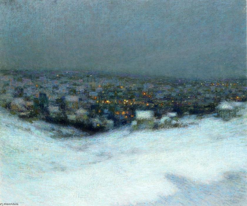 Snow in the Moonlight, Oil On Canvas by Henri Eugène Augustin Le Sidaner (1862-1939, Mauritius)