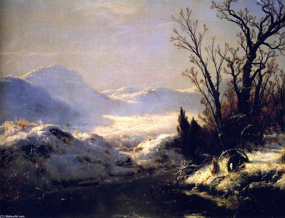 Snow Scene, 1856 by Louis Remy Mignot (1831-1870, United States) | Oil Painting | ArtsDot.com