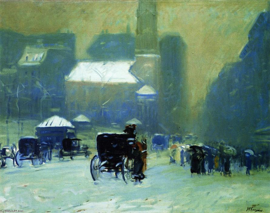 Order Painting Copy : Snowy Day, Park Street Church, Boston, 1905 by Arthur Clifton Goodwin (1864-1929, United States) | ArtsDot.com