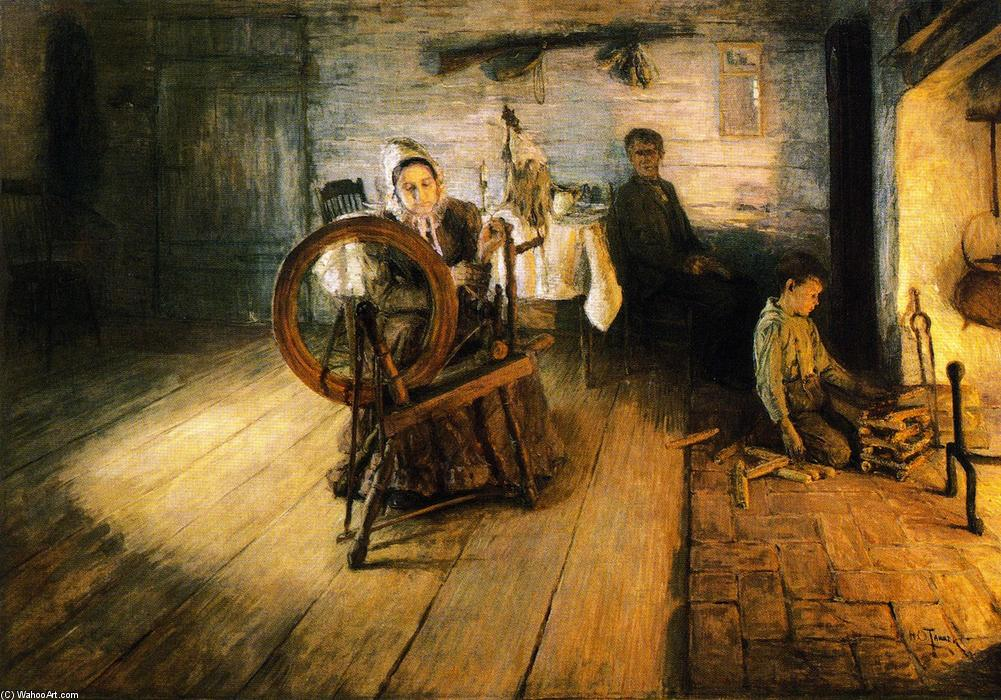 Spinning by Firelight - The Boyhood of George Washington Gray, 1894 by Henry Ossawa Tanner (1859-1937, United States) | ArtsDot.com