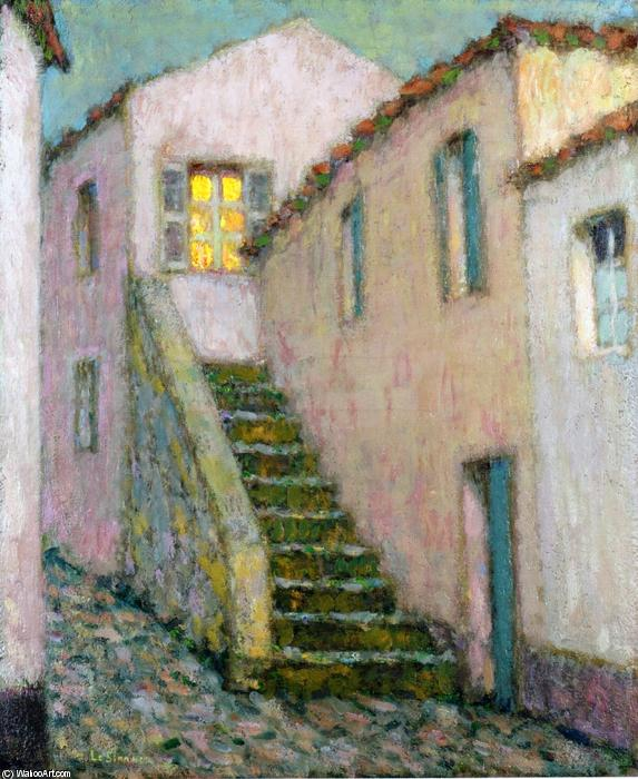 Staircase, Oil On Canvas by Henri Eugène Augustin Le Sidaner (1862-1939, Mauritius)