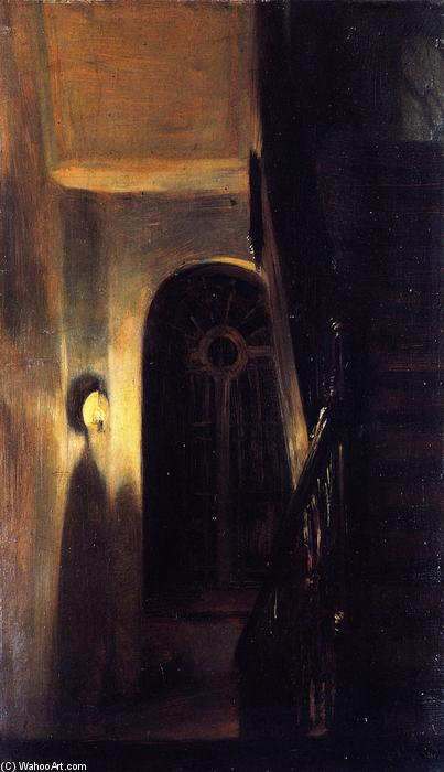 Stairway Landing in Nocturnal Lighting, Painting by Adolph Menzel (1815-1905, Poland)