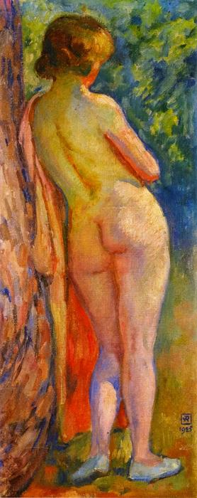 Standing Nude from the Back, Oil On Canvas by Theo Van Rysselberghe (1862-1926, Belgium)