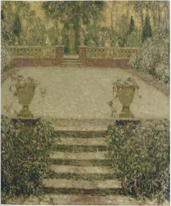 Steps in the Garden, Oil On Canvas by Henri Eugène Augustin Le Sidaner (1862-1939, Mauritius)