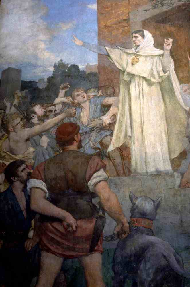 St. Genevieve makes confidence and calm to frightened Parisians of the approach of Attila by Pierre Puvis De Chavannes (1824-1898, France)
