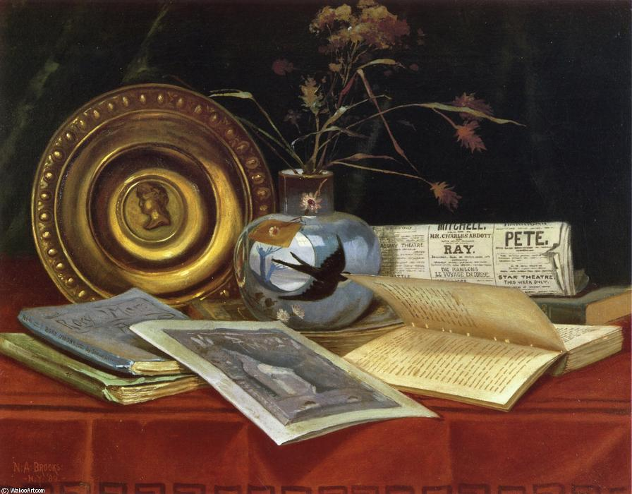 Still Life, Oil On Canvas by Nicholas Alden Brooks (1840-1904, United States)