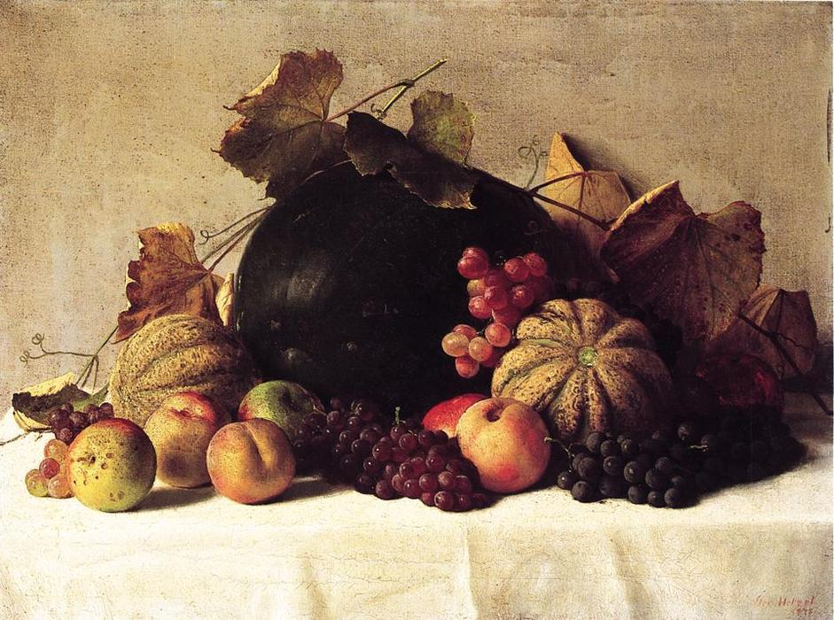 Still Life, Oil On Canvas by George Hetzel (1826-1899, France)
