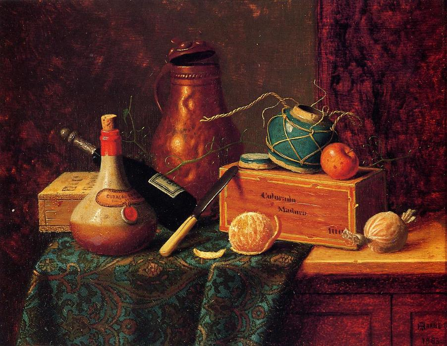 Still Life, Oil On Canvas by William Michael Harnett (1848-1892, Ireland)