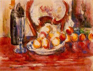 Paul Cezanne - Still Life - Apples, a Bottle and Chairback