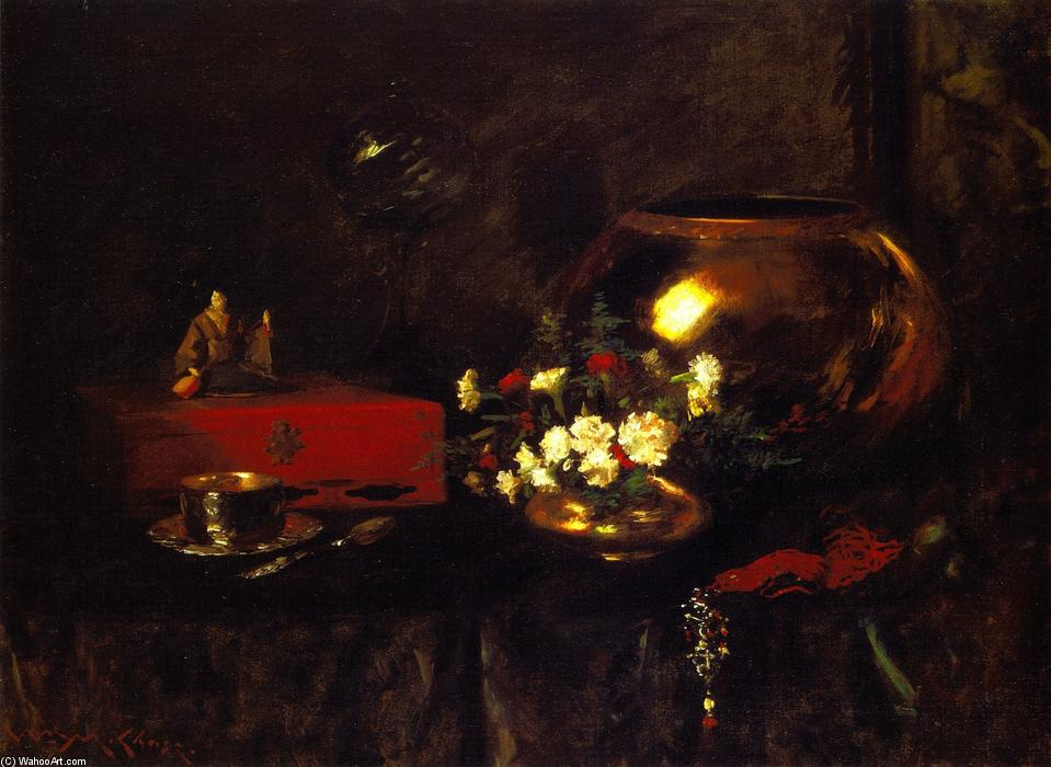 Still LIfe - Brass Bowl, Oil On Canvas by William Merritt Chase (1849-1916, United States)