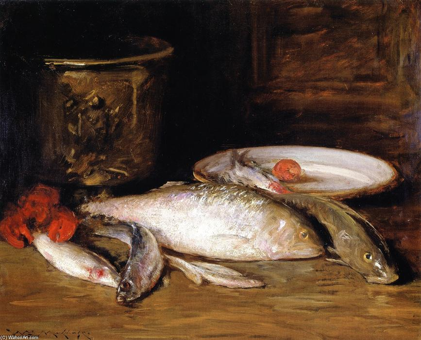 Still LIfe - Fish (also known as Bass and Still LIfe), Oil On Canvas by William Merritt Chase (1849-1916, United States)