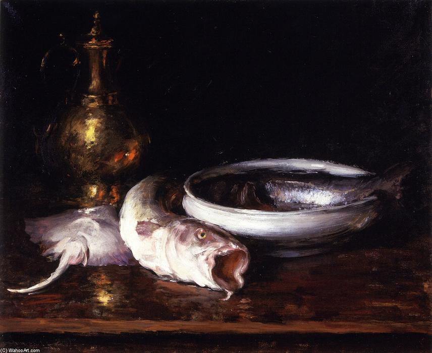 Still Life: Fish (also known as Still LIfe with Fish), Oil On Canvas by William Merritt Chase (1849-1916, United States)