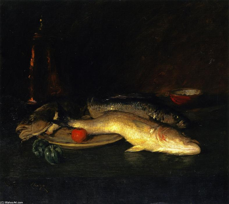 Still LIfe: Fish, Oil On Canvas by William Merritt Chase (1849-1916, United States)
