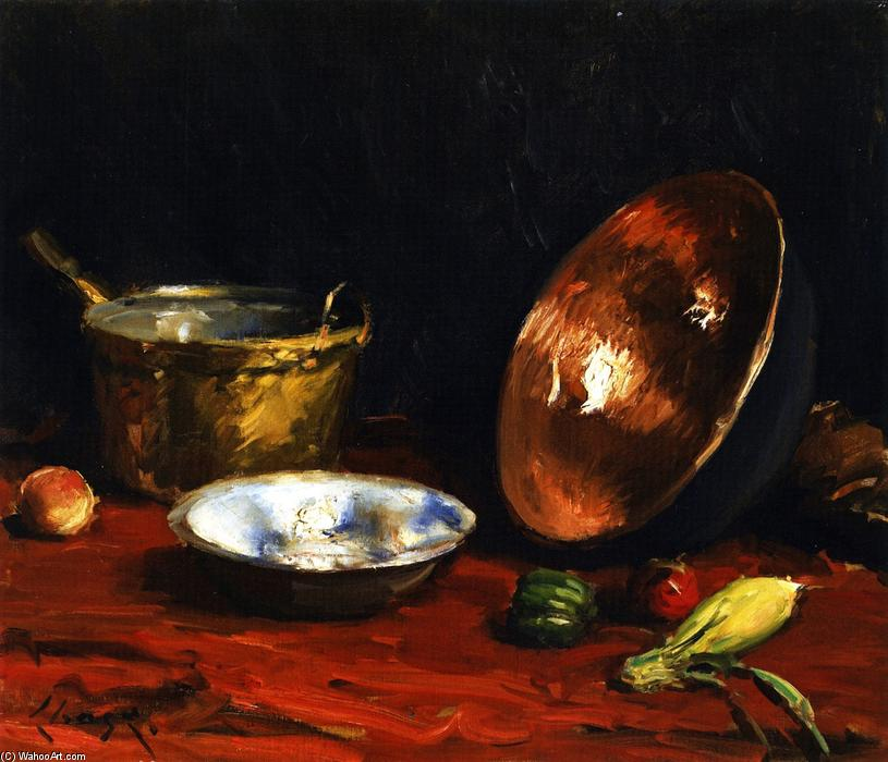 Still Life Pans and Vegetables, Oil On Canvas by William Merritt Chase (1849-1916, United States)