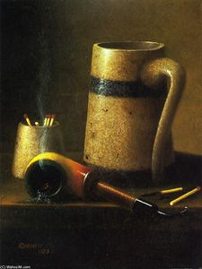 William Michael Harnett - Still Life, Pipe and Mug