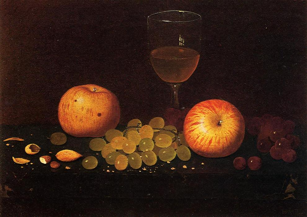 Still Life with Apples, Grapes and Almonds, Oil On Canvas by William Michael Harnett (1848-1892, Ireland)