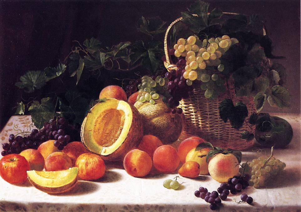 Still Life with Basket of Grapes, Oil On Canvas by George Hetzel (1826-1899, France)