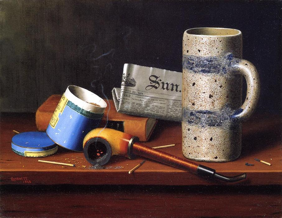 Still Life with Blue Tobacco Box, Oil On Canvas by William Michael Harnett (1848-1892, Ireland)