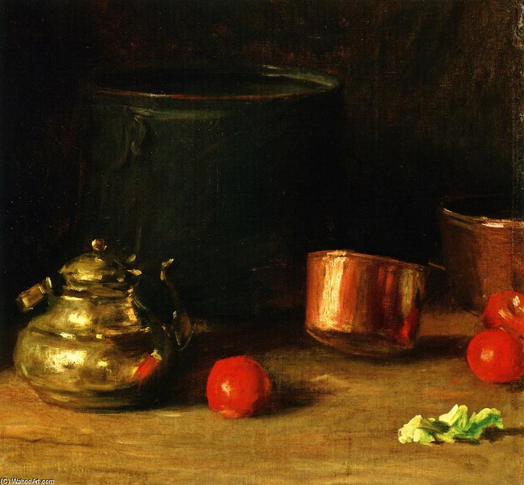 Still LIfe with Brass Kettle, Oil On Canvas by William Merritt Chase (1849-1916, United States)