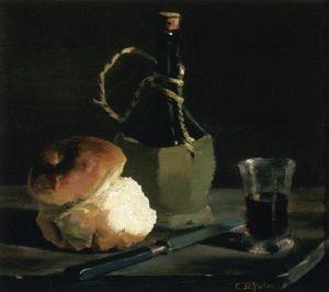 Charles Ethan Porter - Still Life with Bread and Wine Bottle