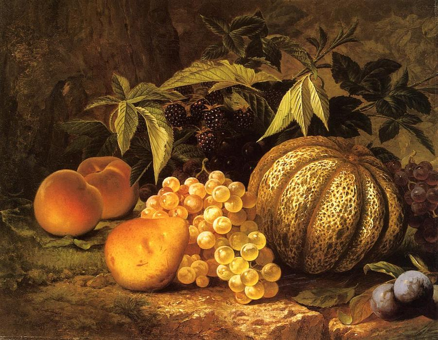 Still Life with Cantaloupe, Oil On Canvas by William Mason Brown (1828-1898, United States)