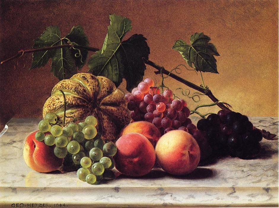 Order Art Reproduction : Still Life with Cantaloupe, Grapes and Peaches, 1864 by George Hetzel (1826-1899, France) | ArtsDot.com