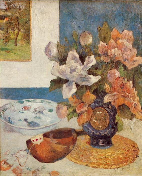 Still Life with Chinese Peonies and Mandolin, 1885 by Paul Gauguin (1848-1903, France) | Museum Quality Copies Paul Gauguin | ArtsDot.com