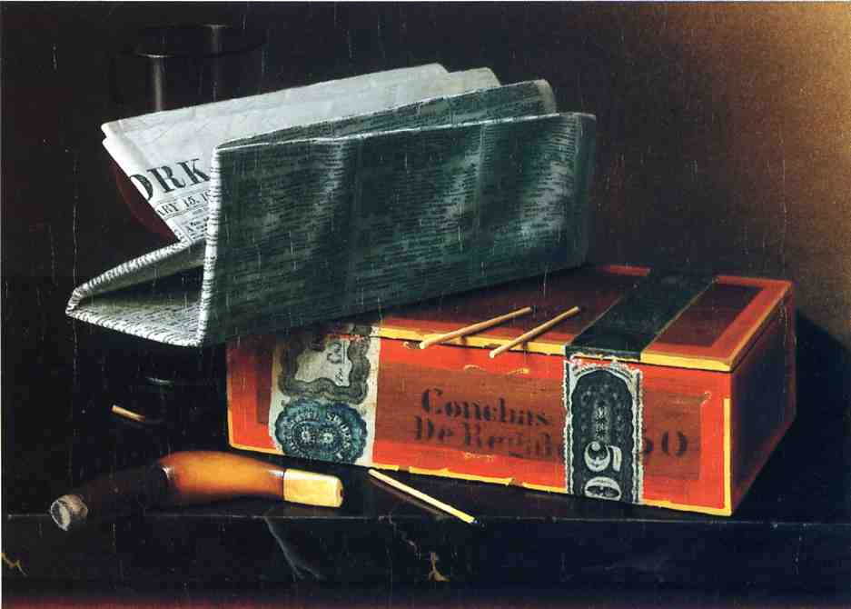 Still Life with Cigar, Pipe, New York Herald and Wiine Glass, Oil On Canvas by William Michael Harnett (1848-1892, Ireland)