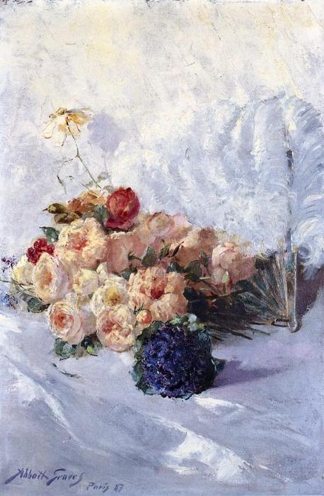 Still Life with Flowers and Fan, Oil On Canvas by Abbott Fuller Graves (1859-1936, United States)