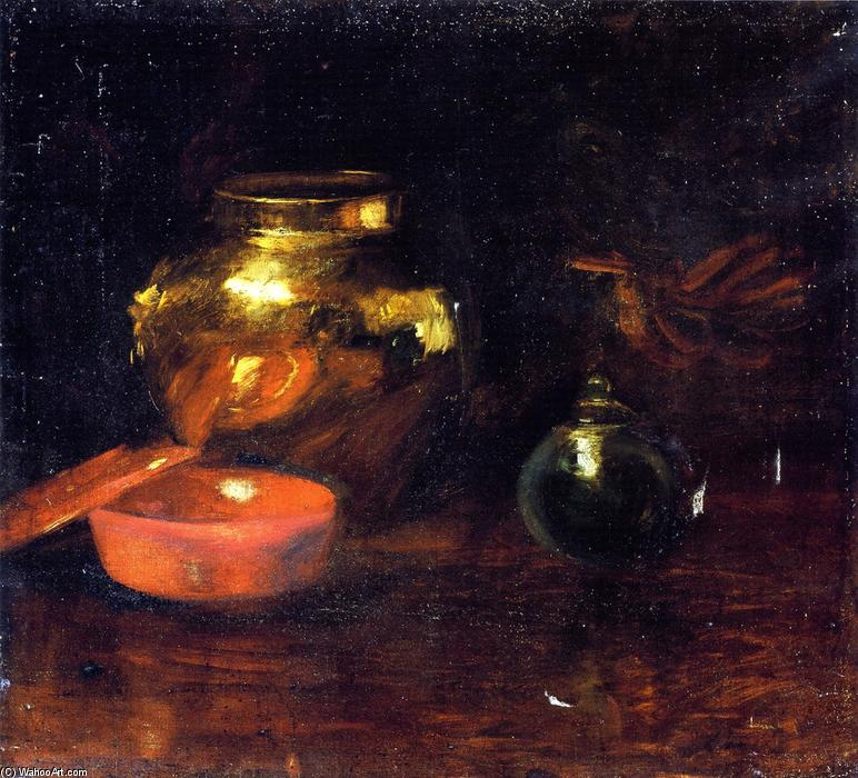 Still Life with Fruit and Pottery, Oil On Canvas by William Merritt Chase (1849-1916, United States)
