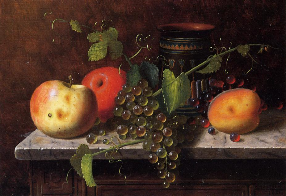 Still Life with Fruit and Vase, Oil On Panel by William Michael Harnett (1848-1892, Ireland)