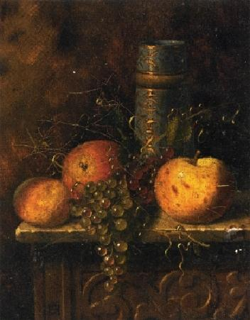 Still Life with Fruit and Vase, Oil On Canvas by William Michael Harnett (1848-1892, Ireland)