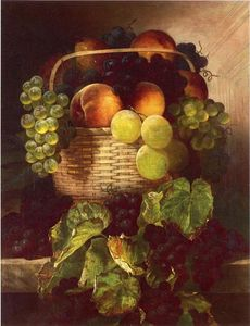 William Mason Brown - Still Life with Grapes. Plums and Peaches in a Basket