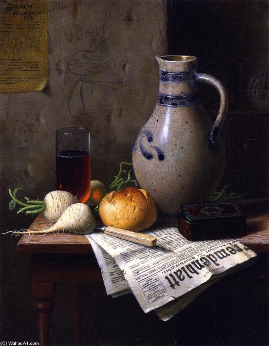 Still LIfe with Jug and Newspaper, Oil On Canvas by William Michael Harnett (1848-1892, Ireland)